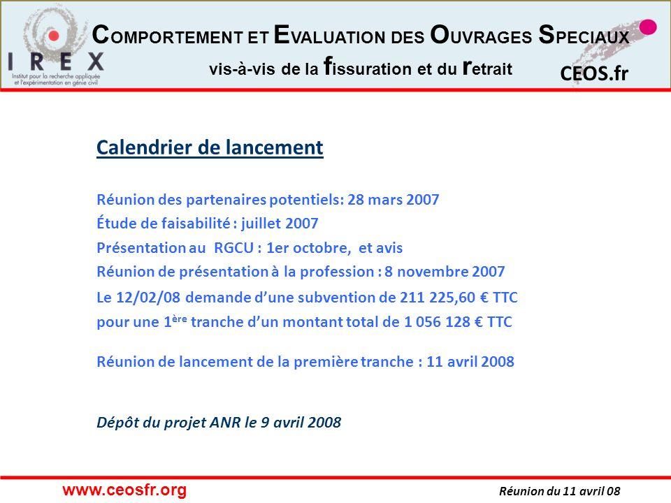 Calendrier de lancement Réunion des partenaires potentiels: 28 mars 2007 Étude de faisabilité : juillet 2007 Présentation au RGCU : 1er octobre, et avis Réunion de présentation à la profession : 8 novembre 2007