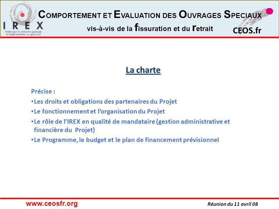 La charte Précise : Les droits et obligations des partenaires du Projet. Le fonctionnement et l'organisation du Projet.