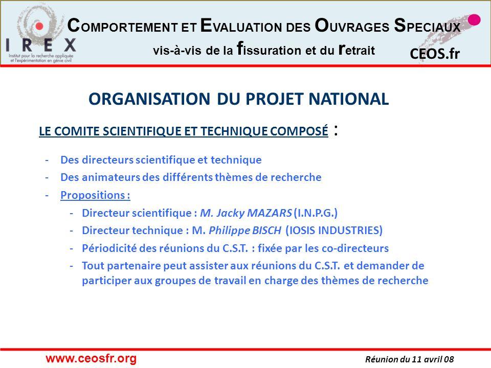 ORGANISATION DU PROJET NATIONAL