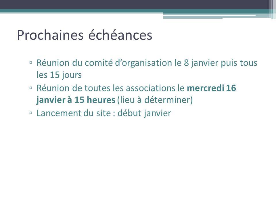 Prochaines échéances Réunion du comité d'organisation le 8 janvier puis tous les 15 jours.