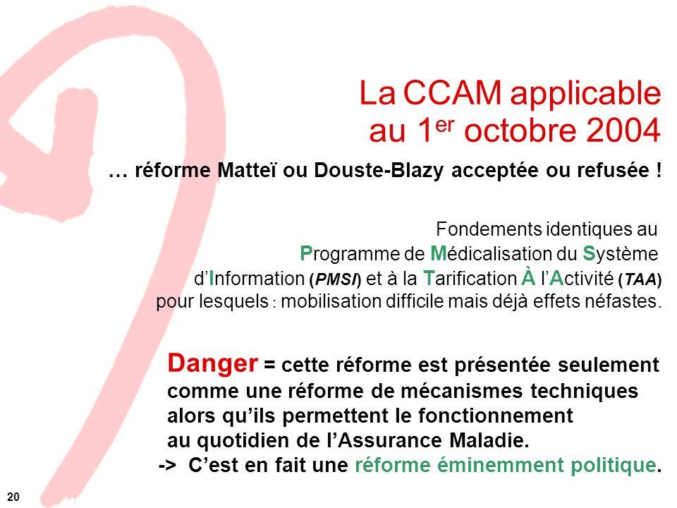 La CCAM applicable au 1er octobre 2004