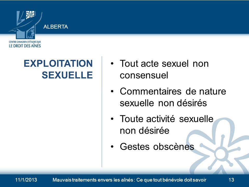 EXPLOITATION SEXUELLE Tout acte sexuel non consensuel