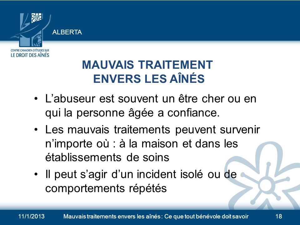 MAUVAIS TRAITEMENT ENVERS LES AÎNÉS