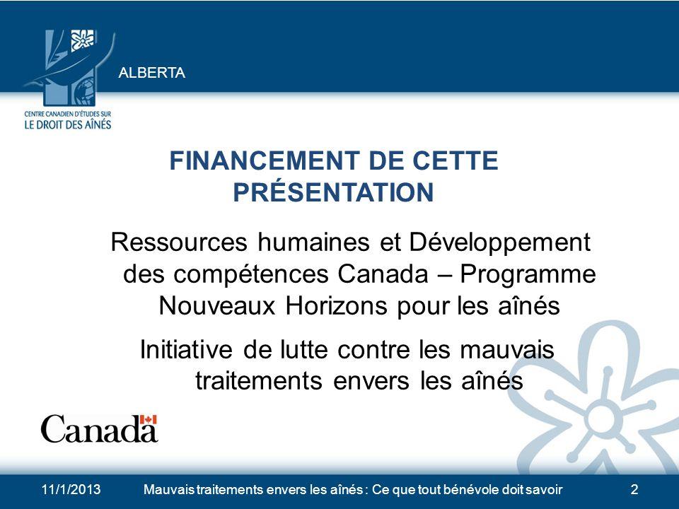 FINANCEMENT DE CETTE PRÉSENTATION