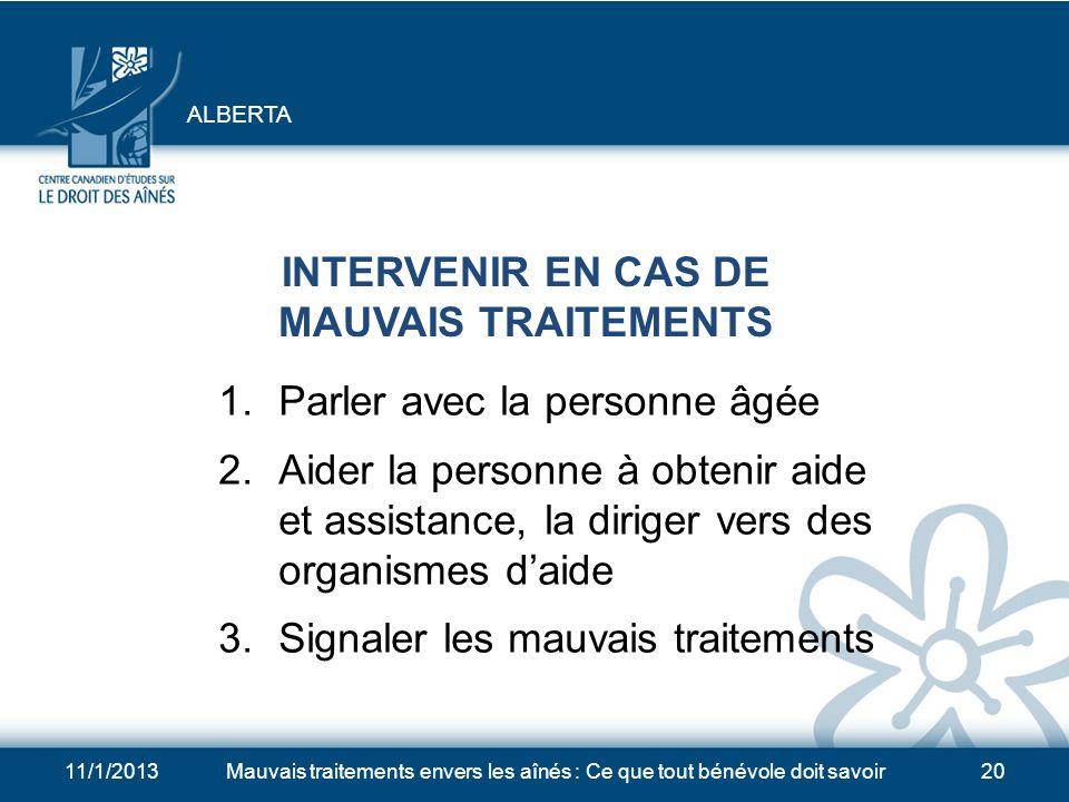 INTERVENIR EN CAS DE MAUVAIS TRAITEMENTS