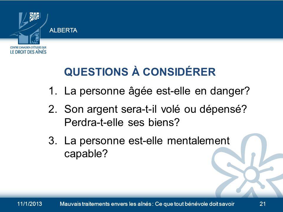 QUESTIONS À CONSIDÉRER