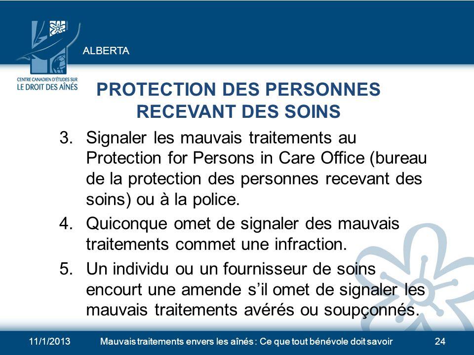 PROTECTION DES PERSONNES RECEVANT DES SOINS