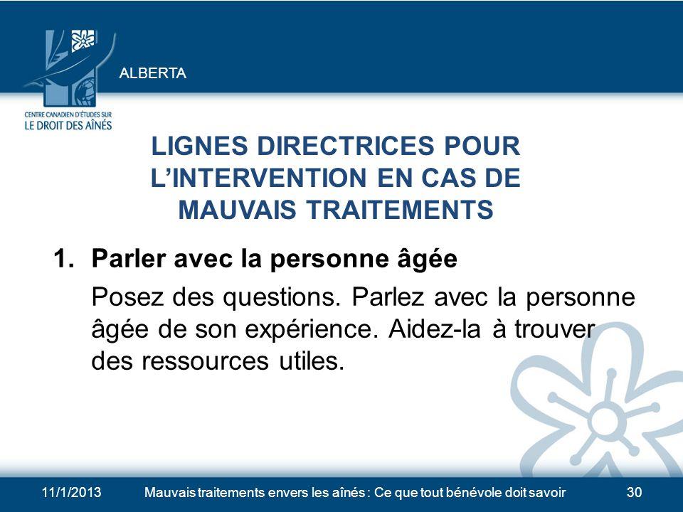 LIGNES DIRECTRICES POUR L'INTERVENTION EN CAS DE MAUVAIS TRAITEMENTS