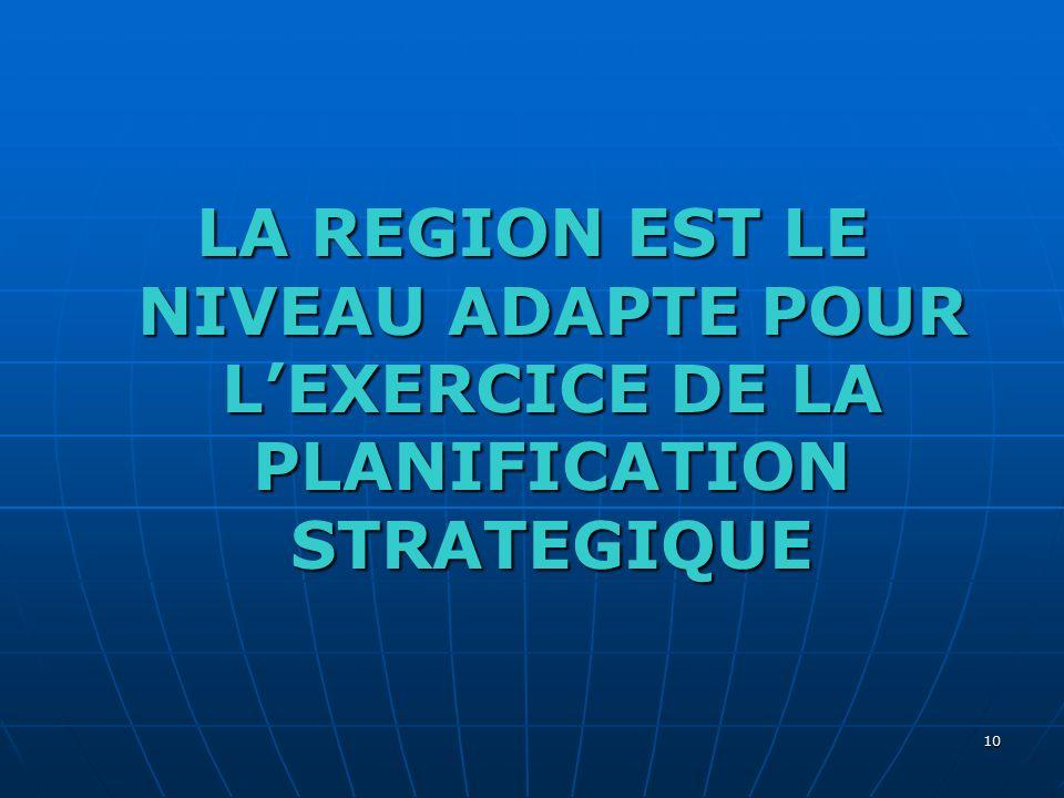 LA REGION EST LE NIVEAU ADAPTE POUR L'EXERCICE DE LA PLANIFICATION STRATEGIQUE