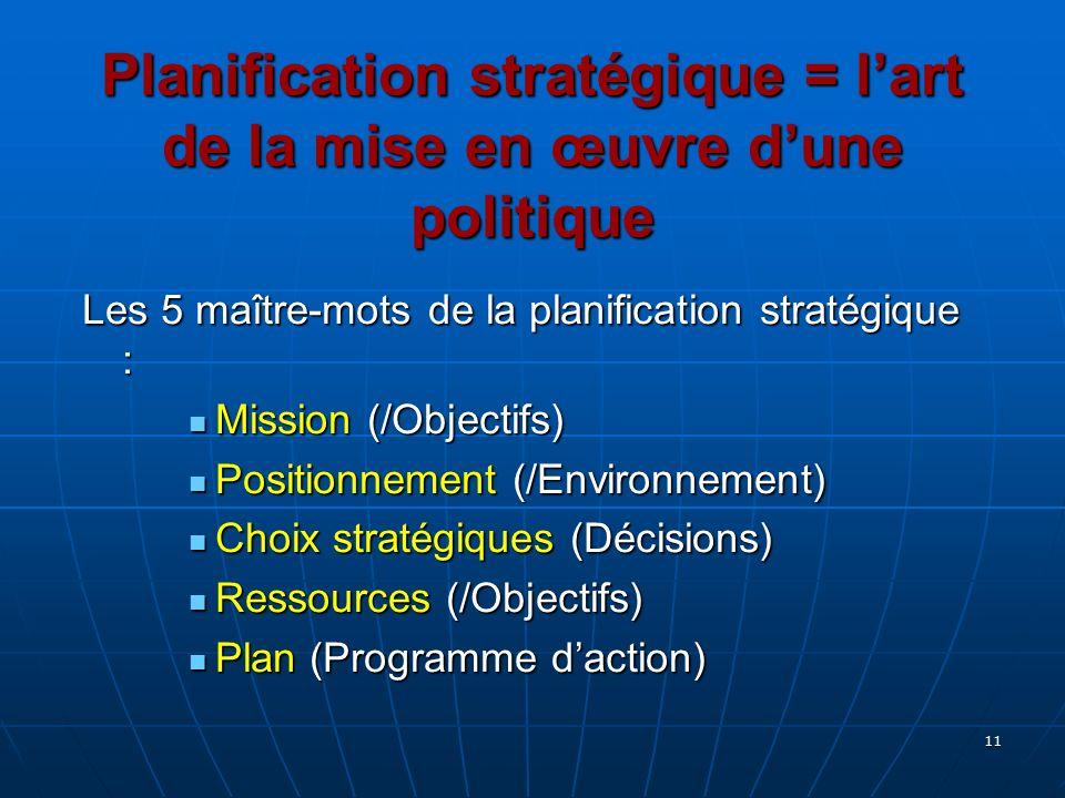 Planification stratégique = l'art de la mise en œuvre d'une politique