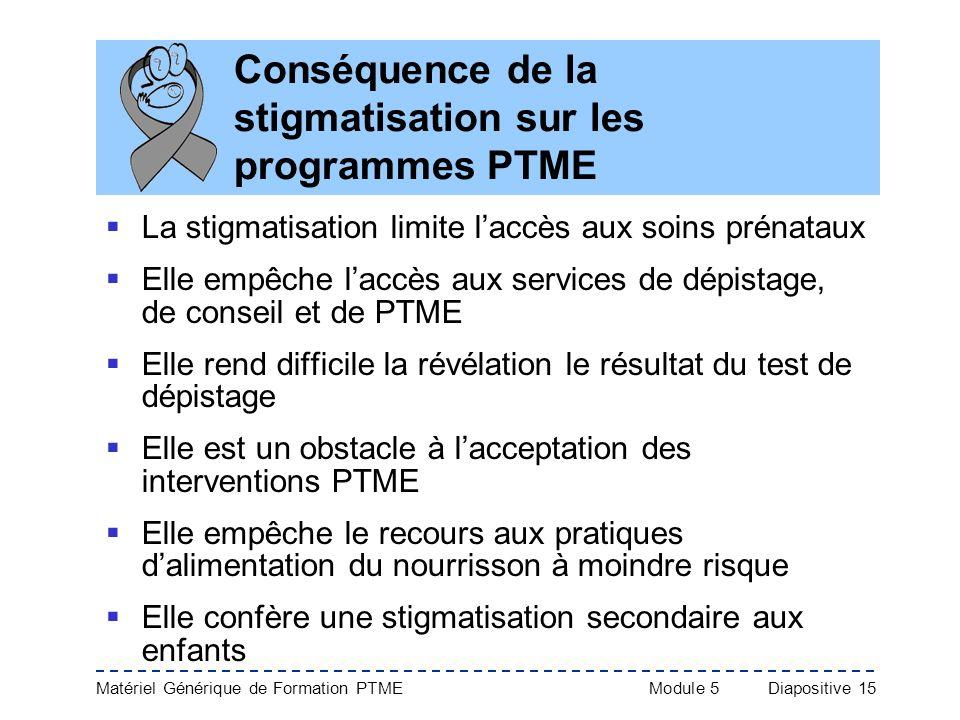 Conséquence de la stigmatisation sur les programmes PTME