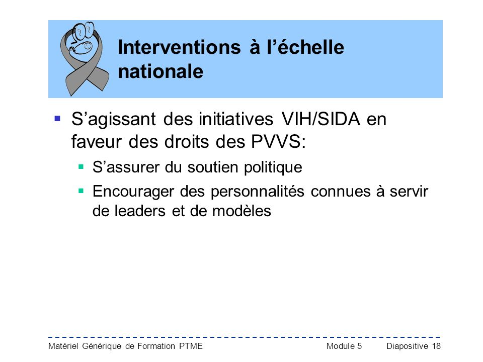 Interventions à l'échelle nationale