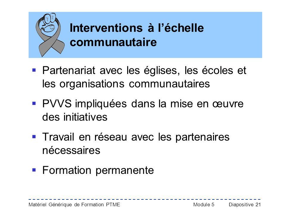 Interventions à l'échelle communautaire
