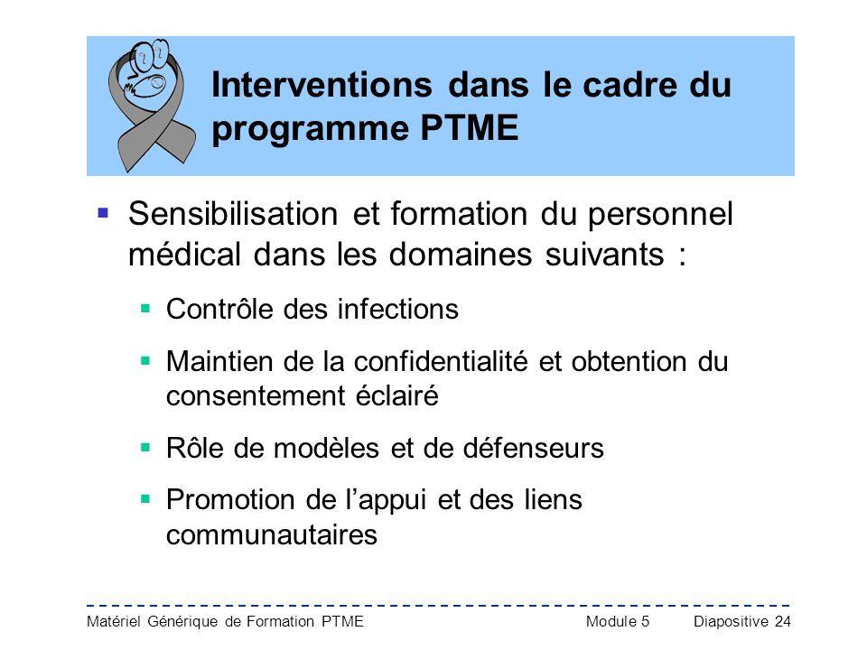 Interventions dans le cadre du programme PTME