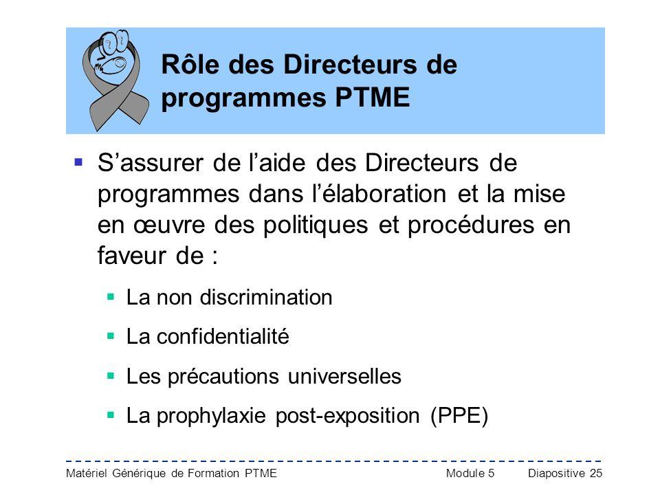 Rôle des Directeurs de programmes PTME