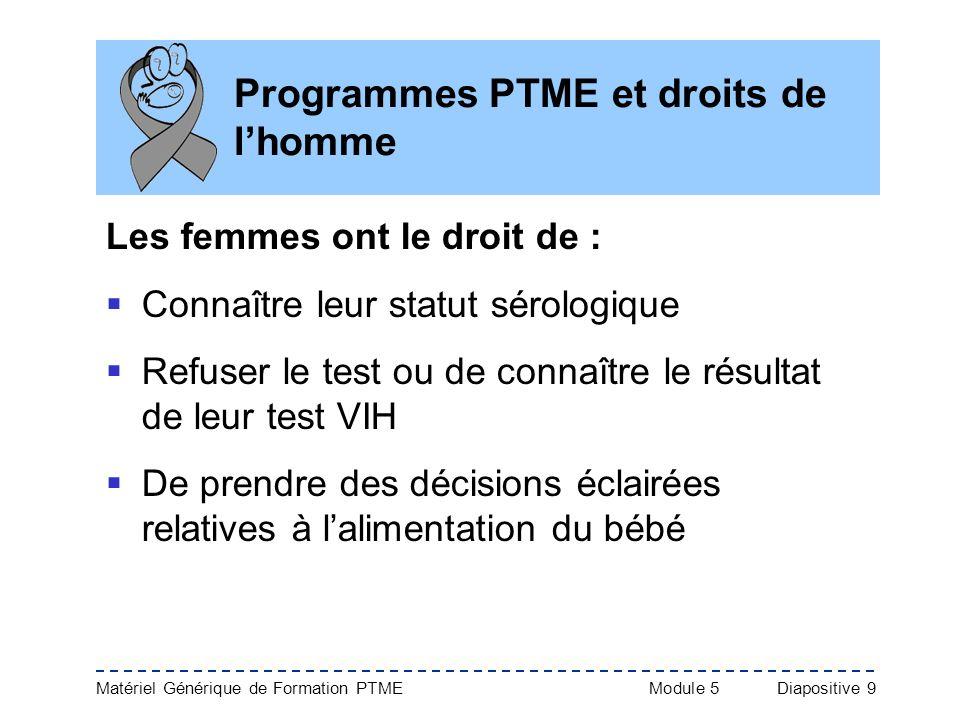 Programmes PTME et droits de l'homme