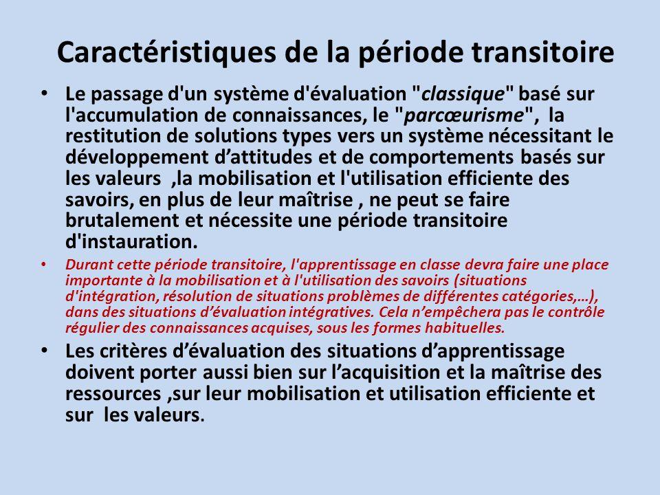 Caractéristiques de la période transitoire