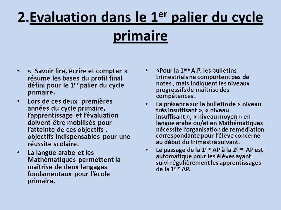 2.Evaluation dans le 1er palier du cycle primaire