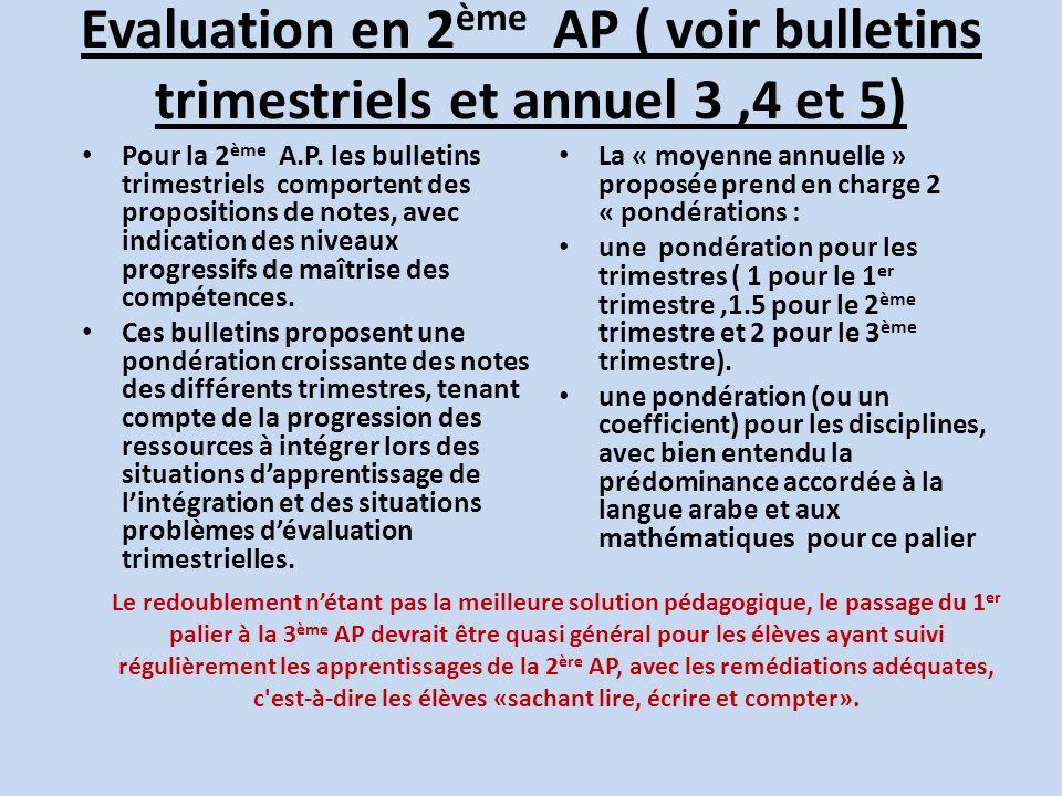 Evaluation en 2ème AP ( voir bulletins trimestriels et annuel 3 ,4 et 5)
