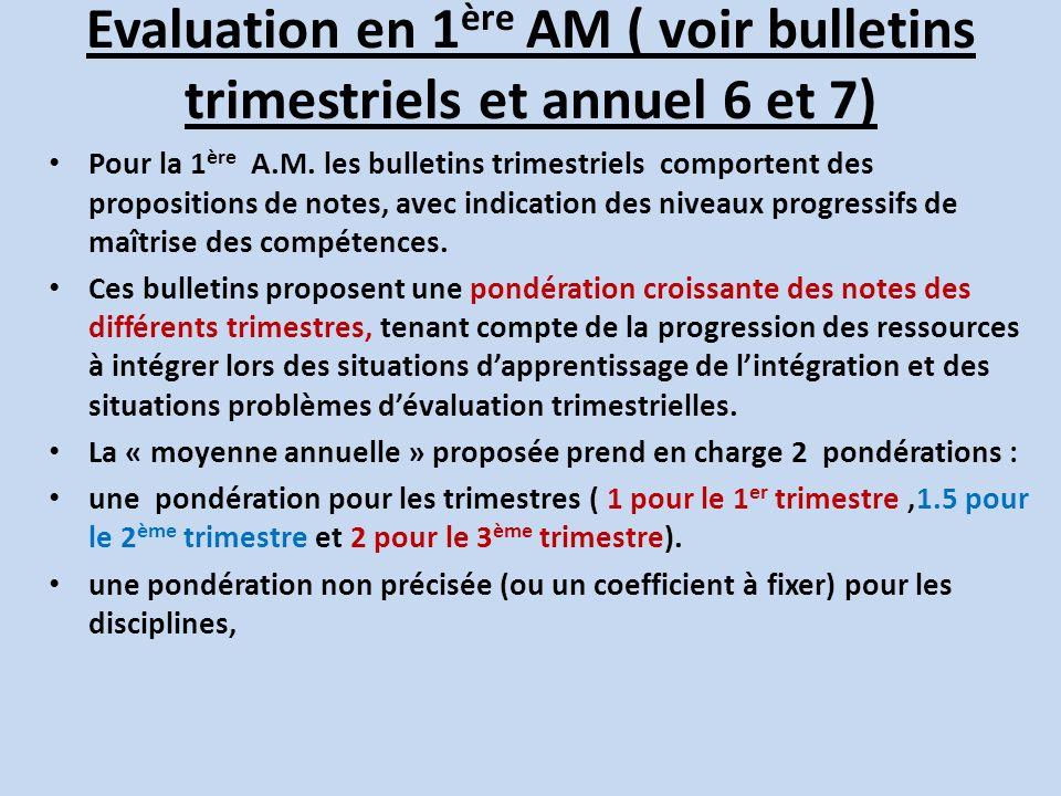 Evaluation en 1ère AM ( voir bulletins trimestriels et annuel 6 et 7)