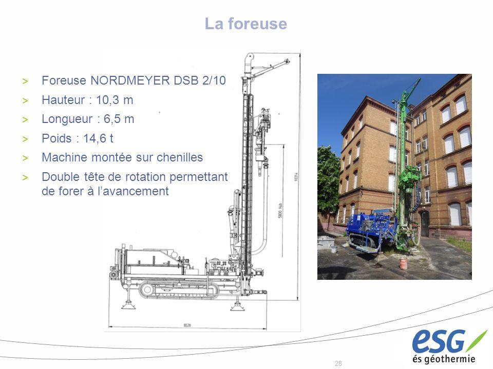 La foreuse Foreuse NORDMEYER DSB 2/10 Hauteur : 10,3 m
