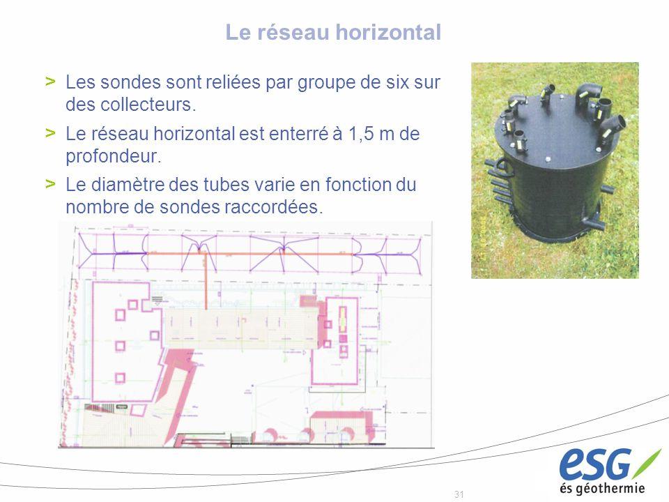 Le réseau horizontal Les sondes sont reliées par groupe de six sur des collecteurs. Le réseau horizontal est enterré à 1,5 m de profondeur.