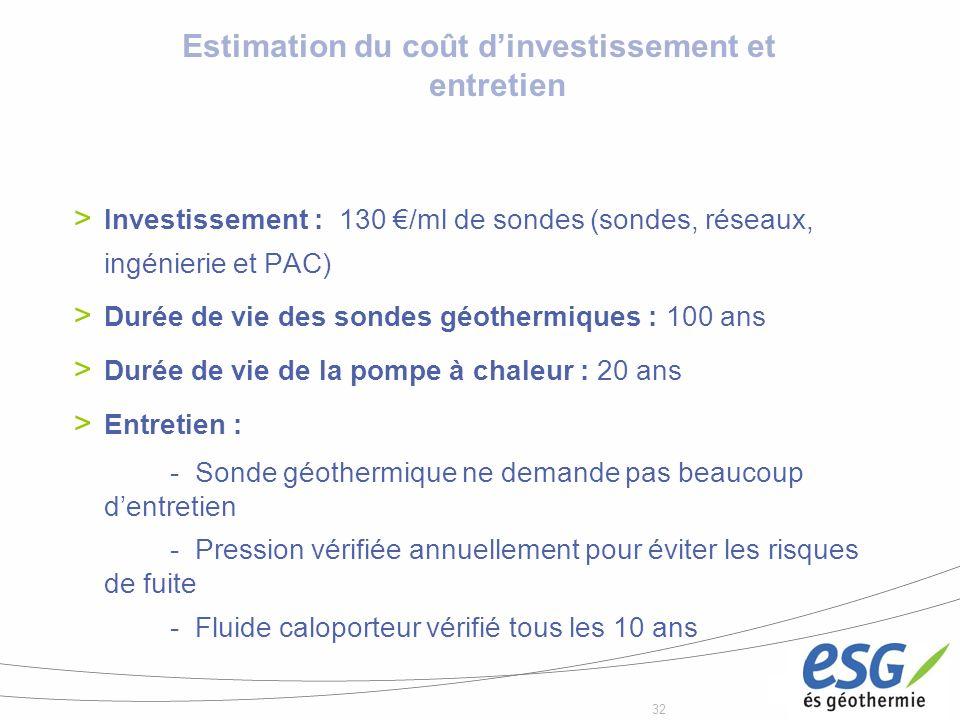 Estimation du coût d'investissement et entretien