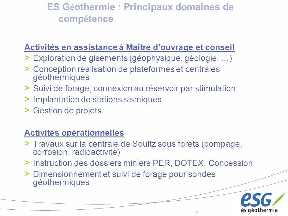 ES Géothermie : Principaux domaines de compétence