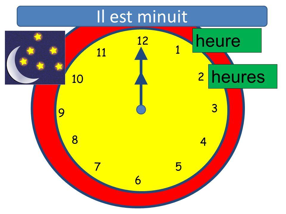 Il est minuit heure 12 11 1 10 2 heures 3 9 8 4 5 7 6 12 1 11 2 10 3 9