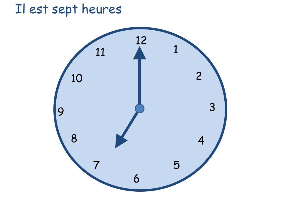 Il est sept heures 12 1 11 2 10 3 9 8 4 7 5 6