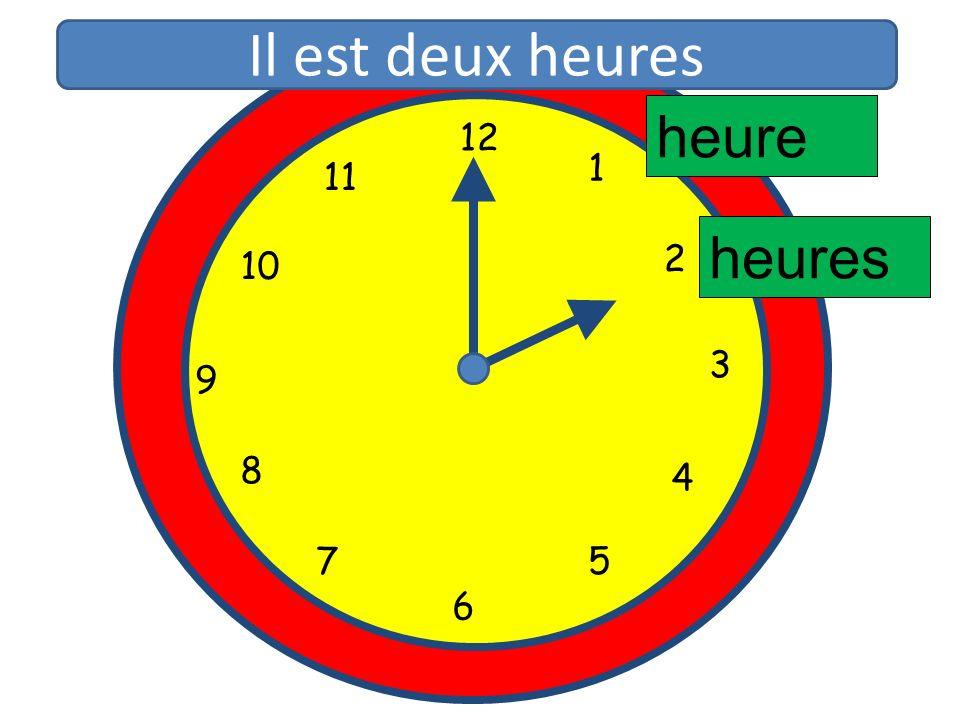 Il est deux heures heure 12 11 1 10 2 heures 3 9 8 4 5 7 6 12 1 11 2