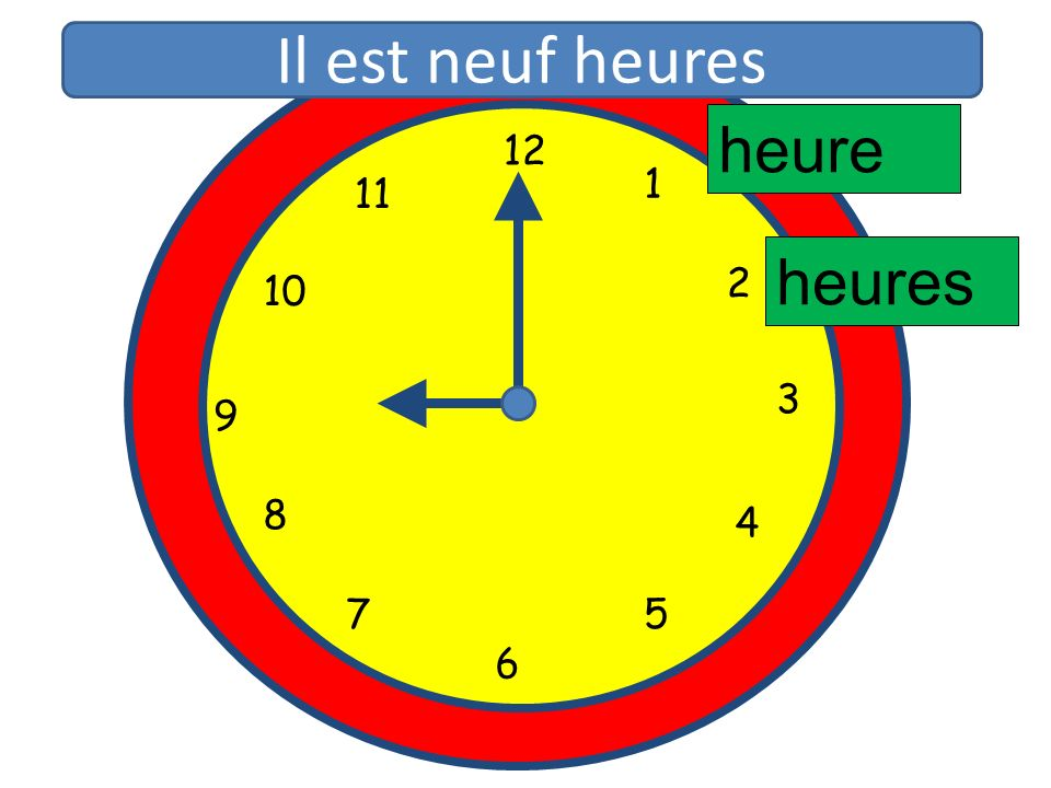 Il est neuf heures heure 12 11 1 10 2 heures 3 9 8 4 5 7 6 12 1 11 2
