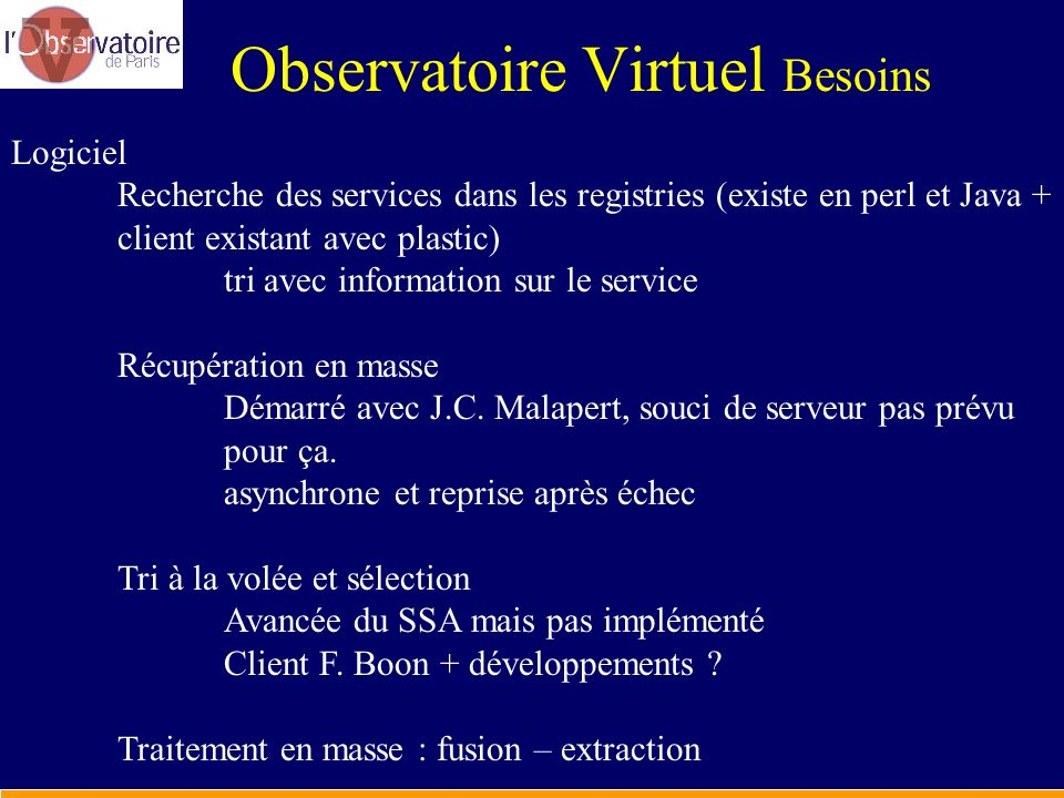 Observatoire Virtuel Besoins