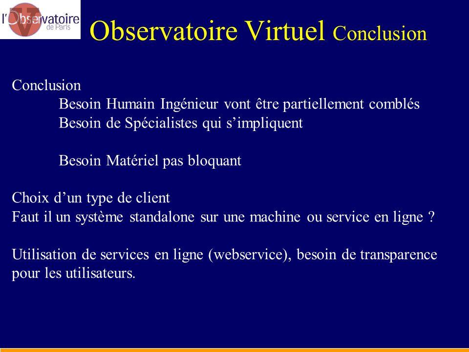 Observatoire Virtuel Conclusion
