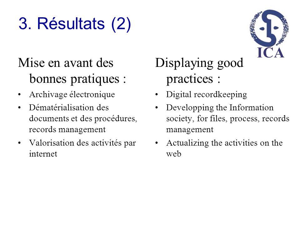 3. Résultats (2) Mise en avant des bonnes pratiques :