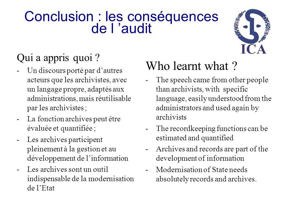 Conclusion : les conséquences de l 'audit