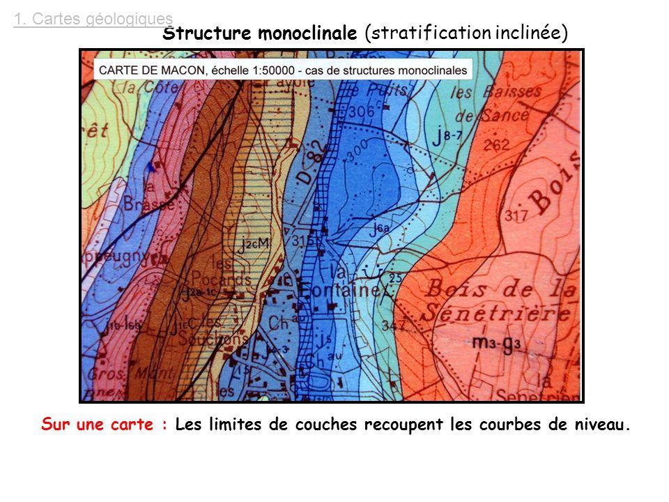 Structure monoclinale (stratification inclinée)