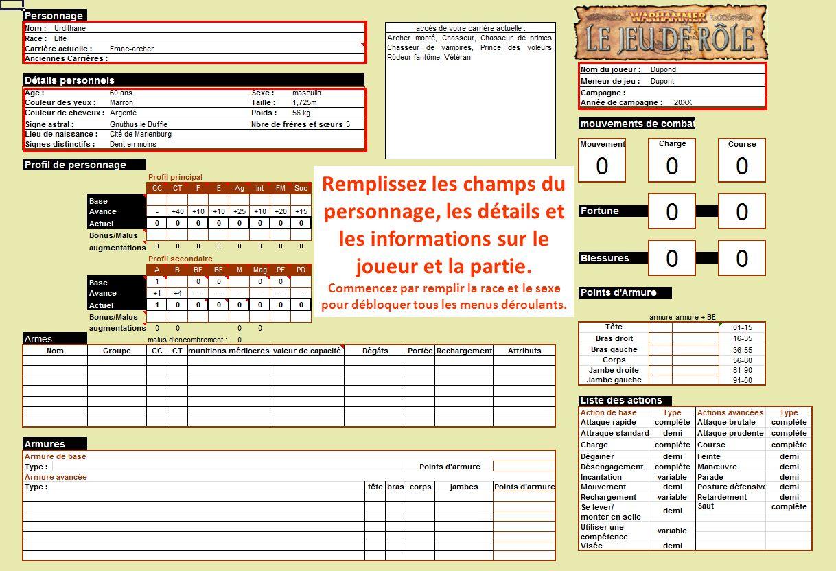 Remplissez les champs du personnage, les détails et les informations sur le joueur et la partie.