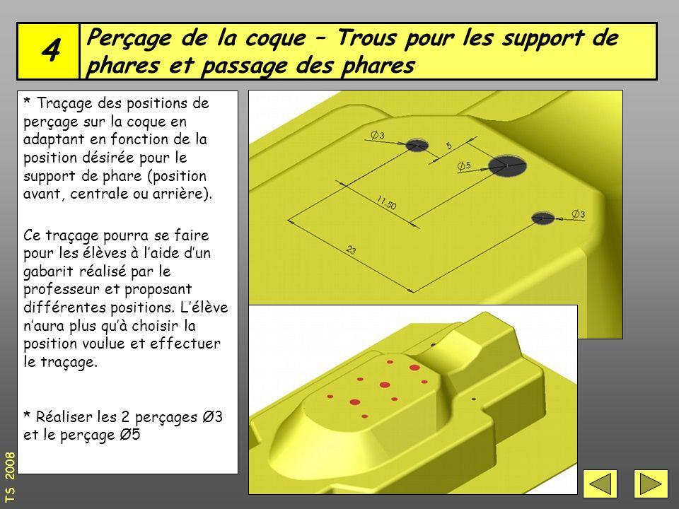 4 Perçage de la coque – Trous pour les support de phares et passage des phares.