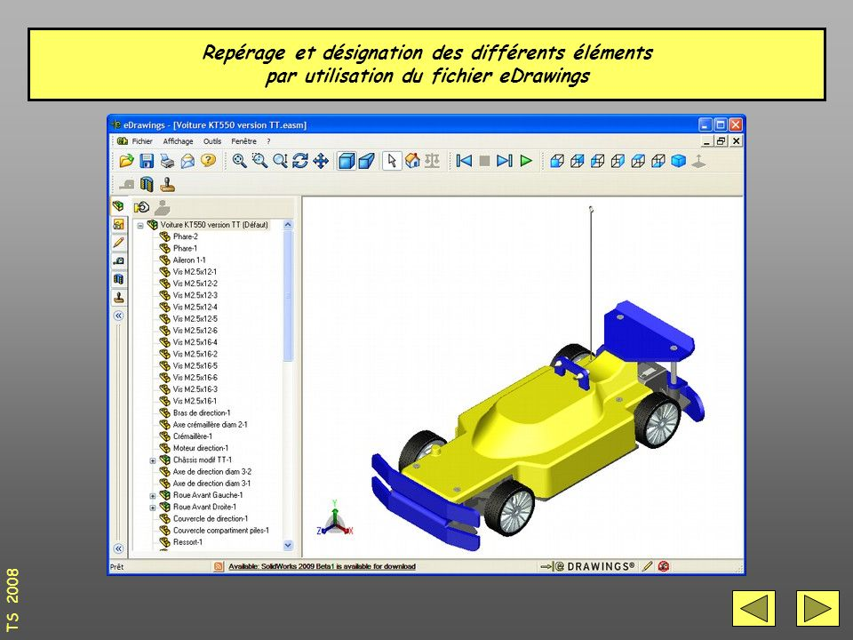Repérage et désignation des différents éléments par utilisation du fichier eDrawings