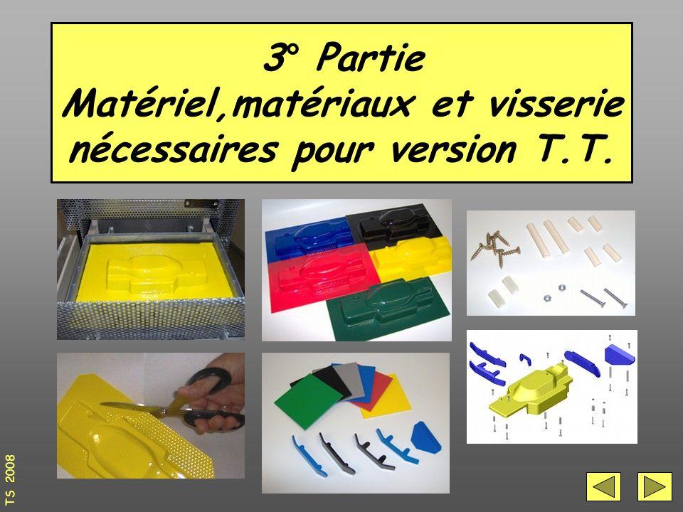 3° Partie Matériel,matériaux et visserie nécessaires pour version T.T.