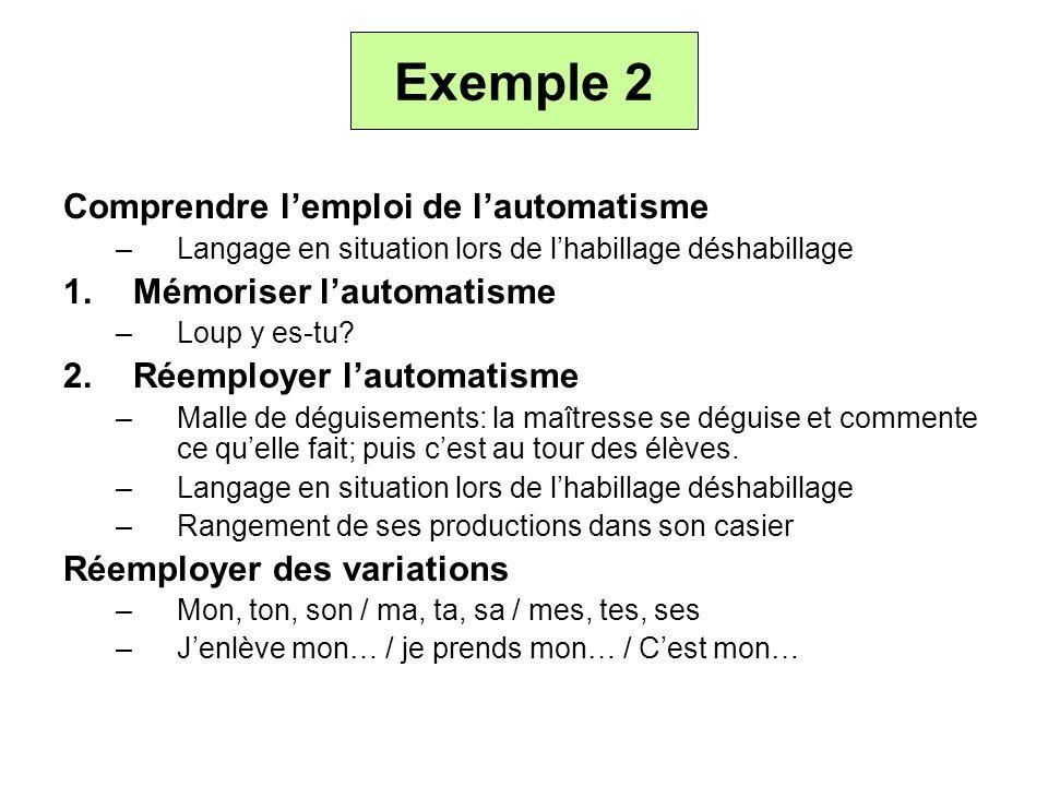Exemple 2 Comprendre l'emploi de l'automatisme Mémoriser l'automatisme