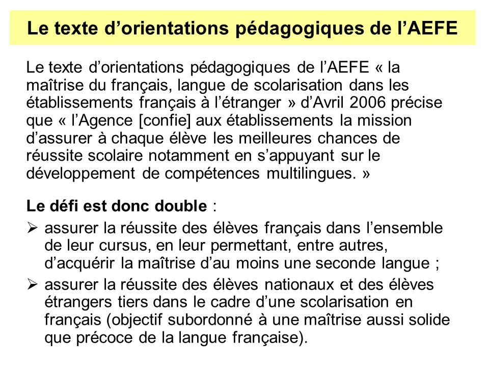 Le texte d'orientations pédagogiques de l'AEFE