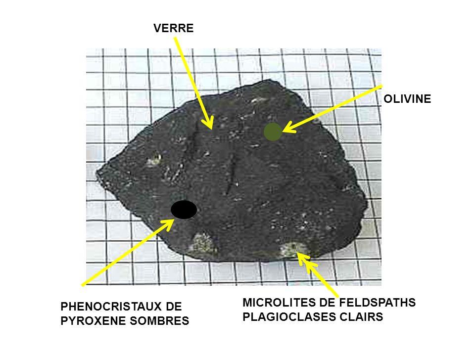 VERRE OLIVINE MICROLITES DE FELDSPATHS PLAGIOCLASES CLAIRS PHENOCRISTAUX DE PYROXENE SOMBRES