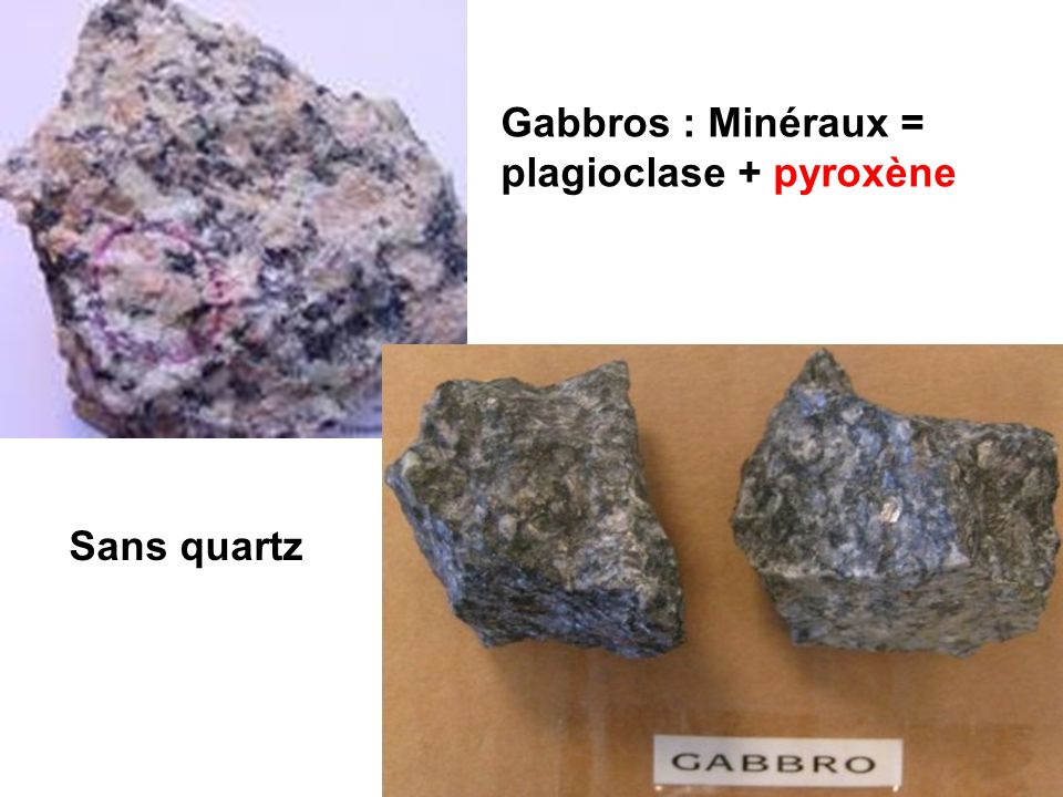 Gabbros : Minéraux = plagioclase + pyroxène