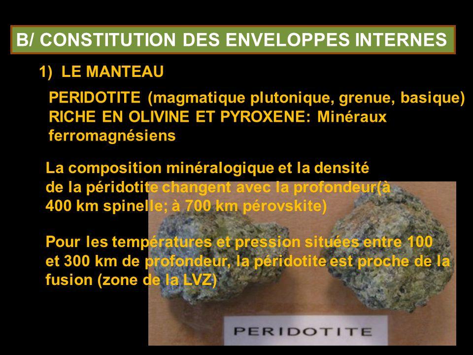 B/ CONSTITUTION DES ENVELOPPES INTERNES