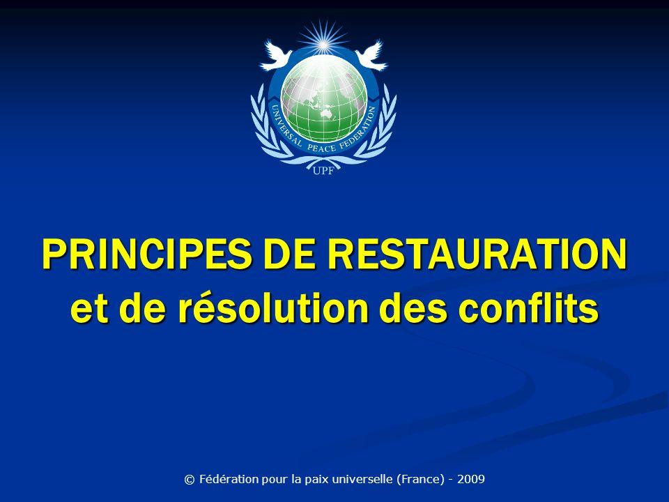 PRINCIPES DE RESTAURATION et de résolution des conflits