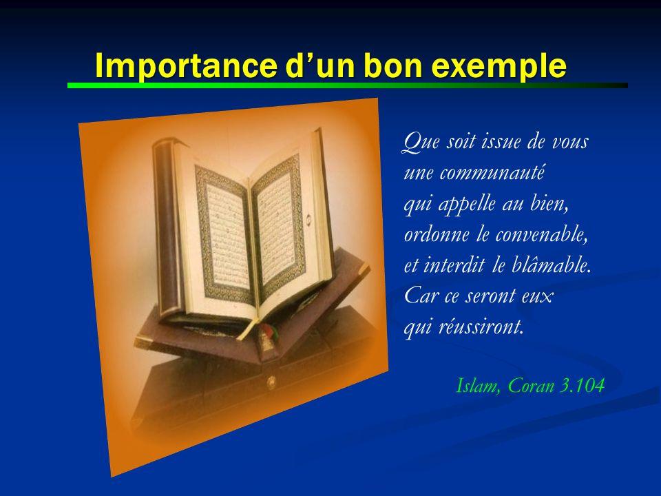 Importance d'un bon exemple