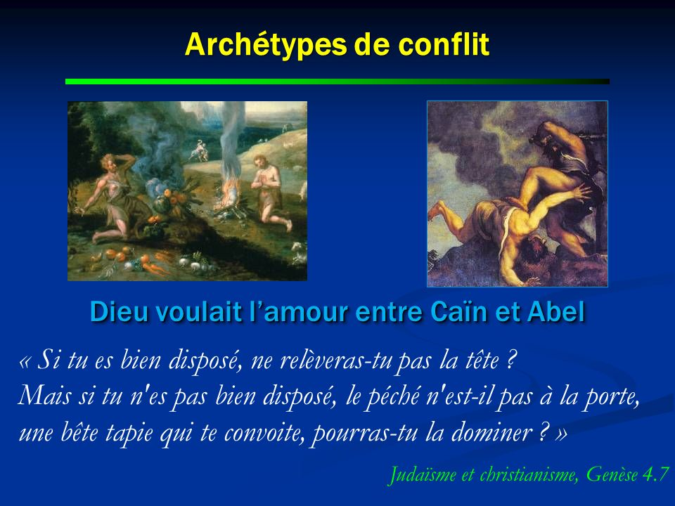 Dieu voulait l'amour entre Caïn et Abel