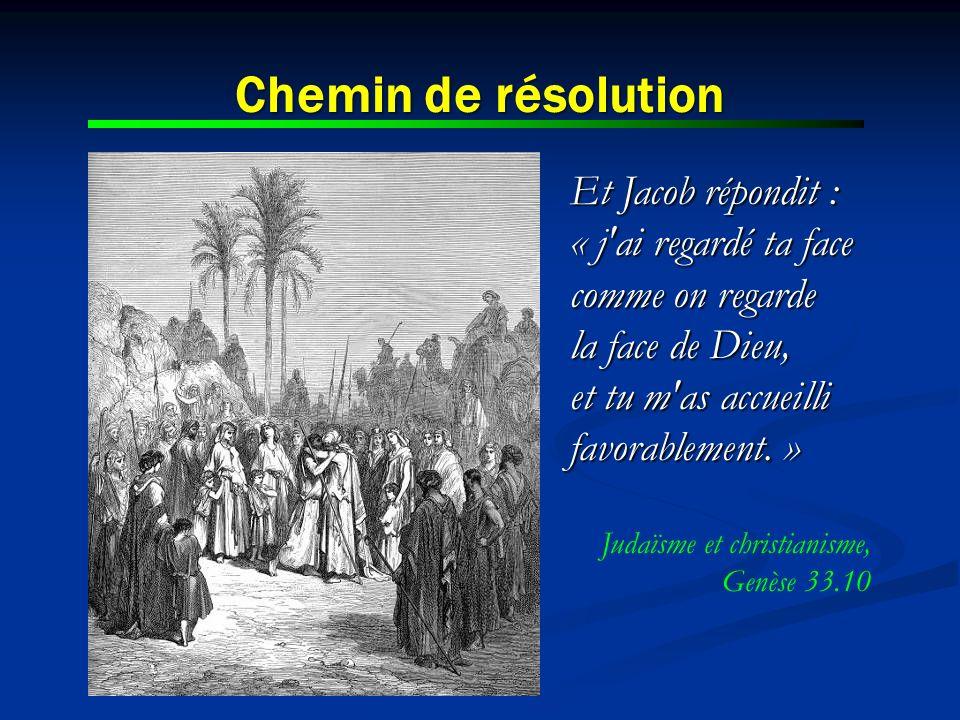 Chemin de résolution Et Jacob répondit : « j ai regardé ta face comme on regarde la face de Dieu, et tu m as accueilli favorablement. »